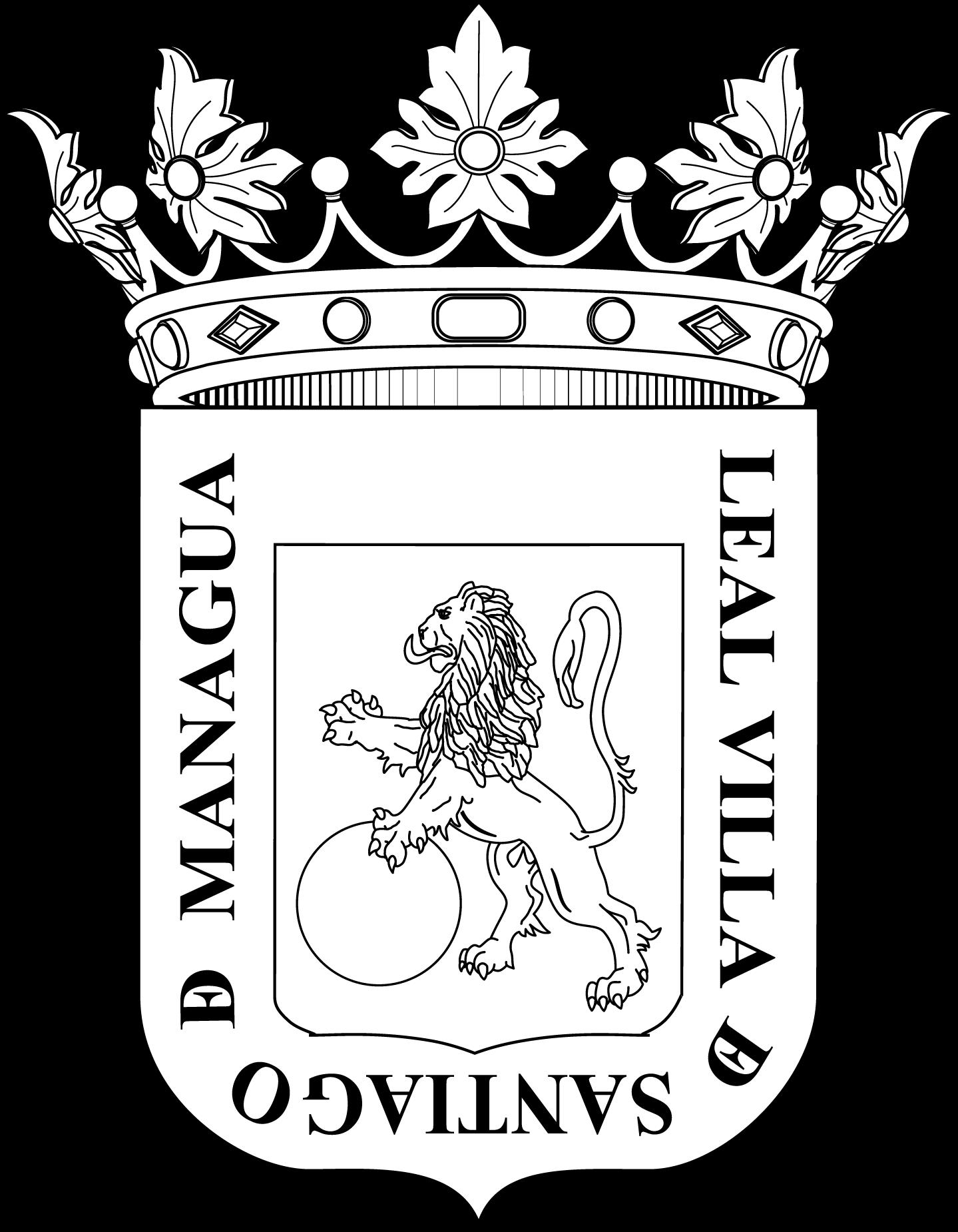 Escudo de Managua blanco y negro