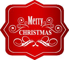 Etiqueta navideña equinas redondas y puntas