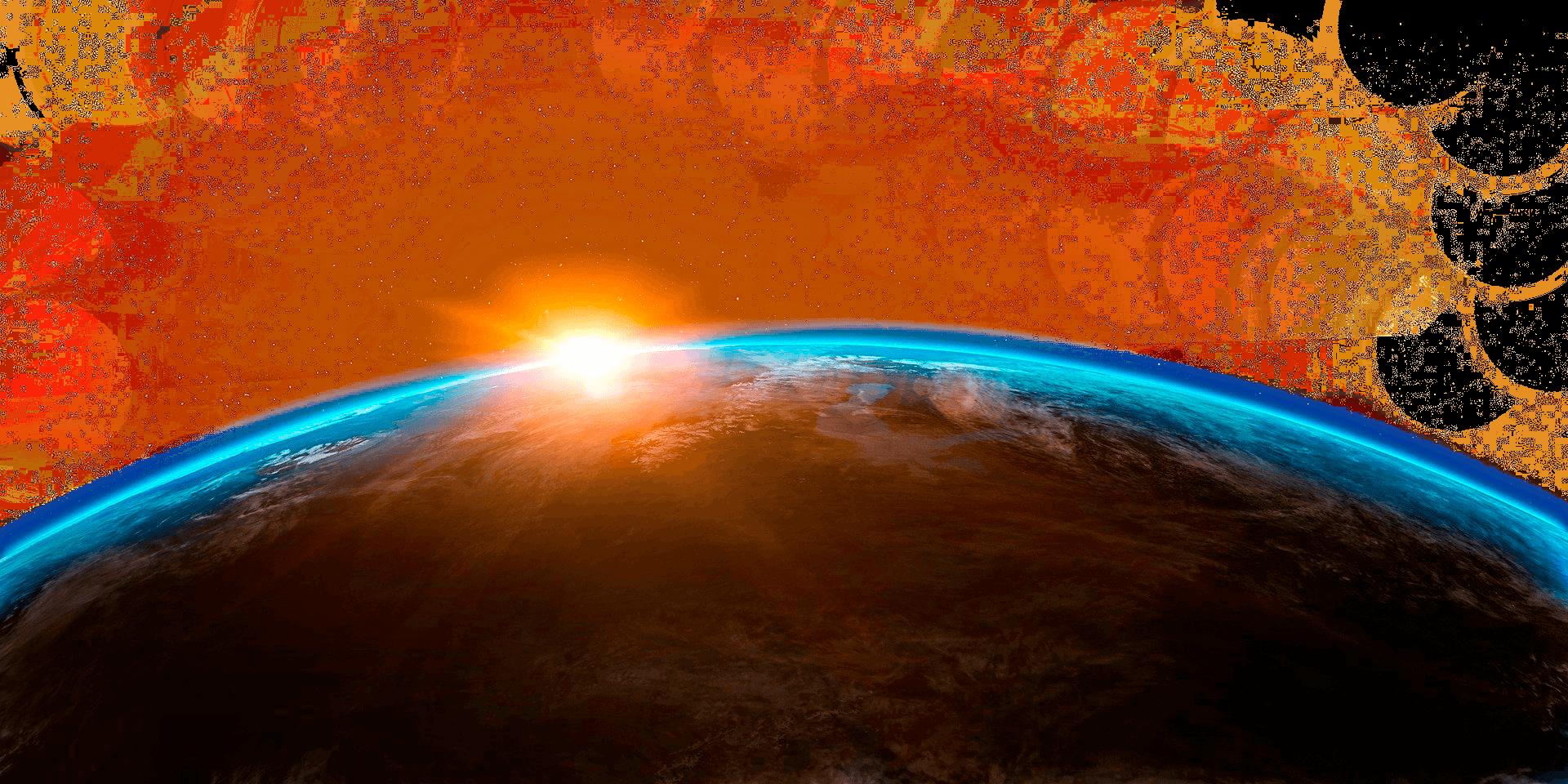 Planeta tierra al amanecer