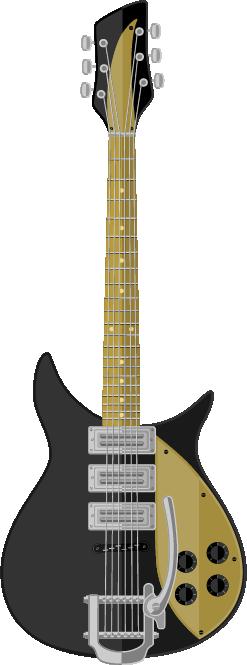 Guitarra negro con dorado