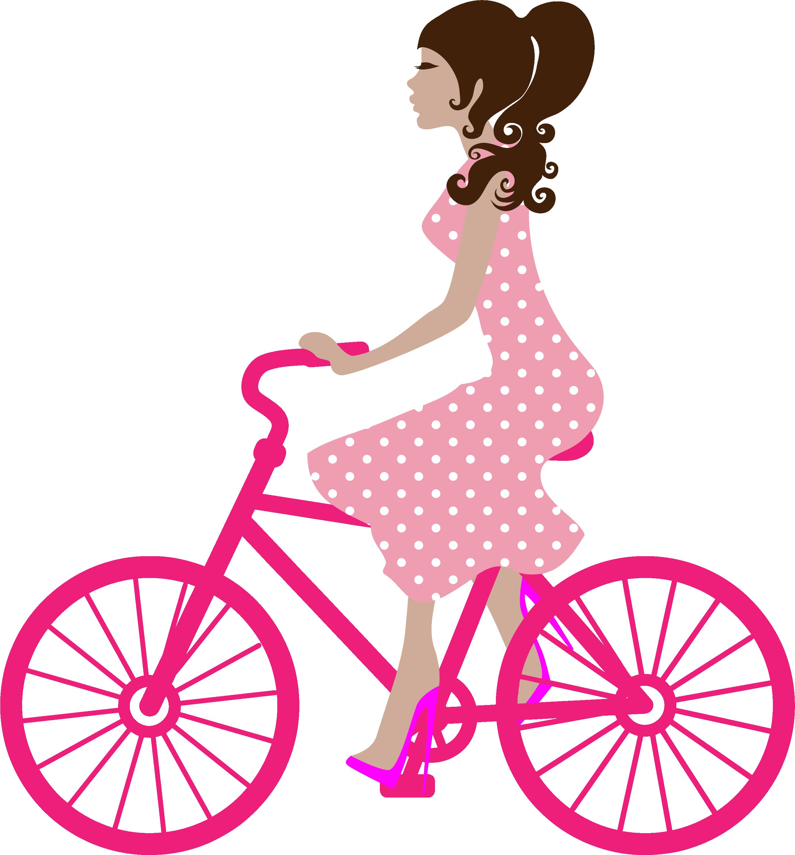 Mujer en bicicleta rosada