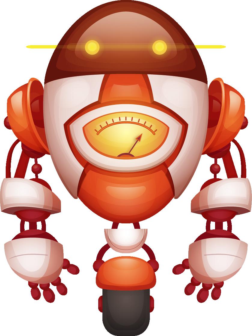 Robot rojo sobre ruedas