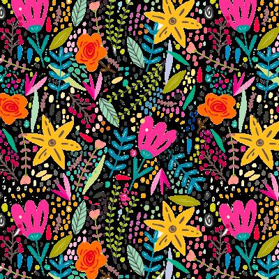 Patrón flores y hojas