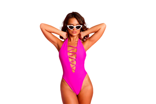 Mujer fitness traje baño rosa posando
