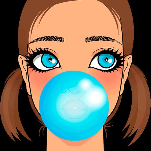 Chica con bomba de chicle en la boca