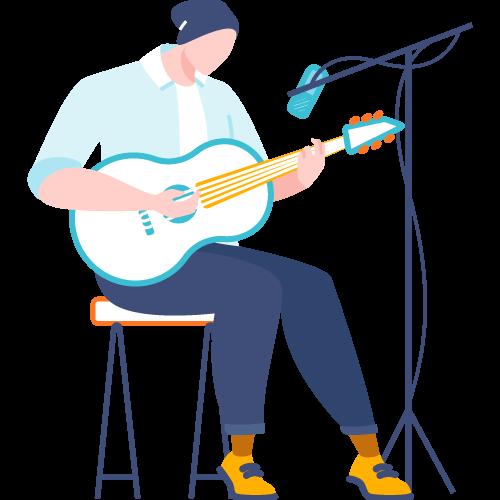 Hombre con guitarra y micrófono