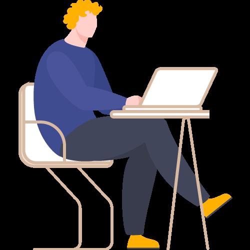 Hombre frente a laptop