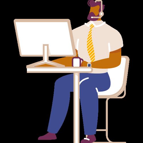 Hombre sentado con audifonos frente a monitor