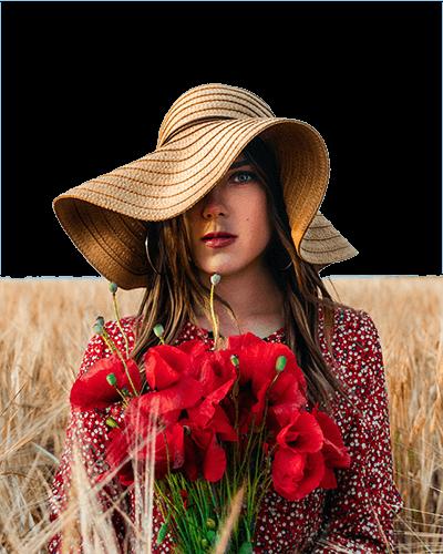Mujer flores y sombrero