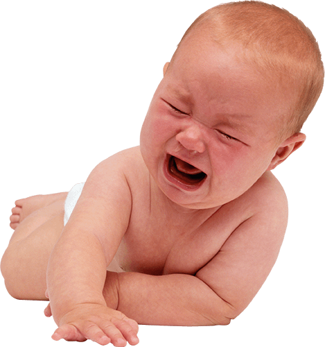 Bebé llorando boca abajo