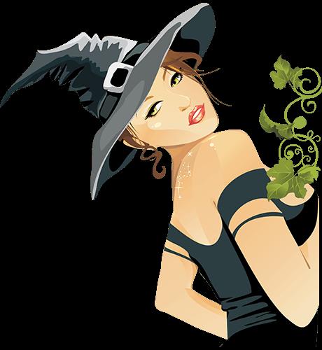 Bruja de negro y planta