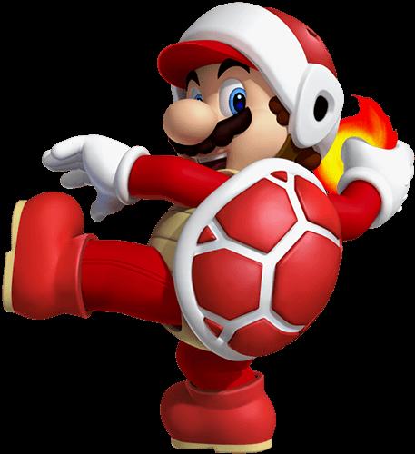 Mario con caparazón de tortuga y fuego