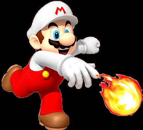 Mario lanza bola de fuego al suelo