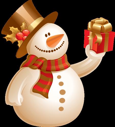 Muñeco de nieves con regalo