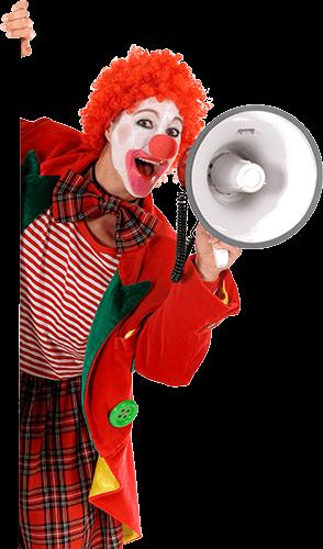 Payasa con megáfono