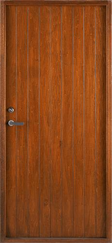 Puerta marrón rayas verticales