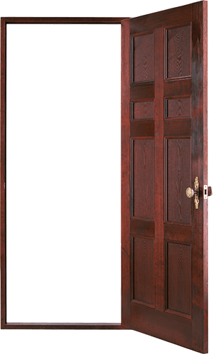 Puerta seis tableros abierta
