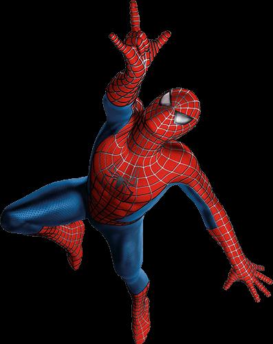 Spider man vuela hacia arriba