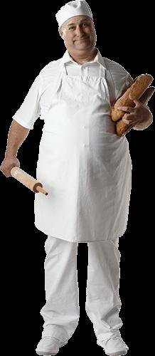 Panadero con panes y rodillo