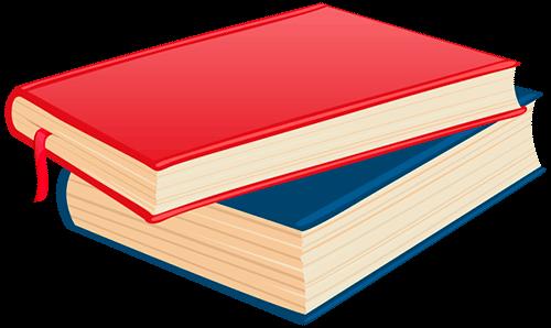 Dos libros rojo y azul