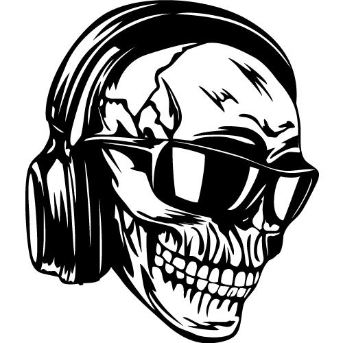 Skull in headphones and sunglasses